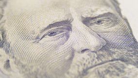 Retrato de giro lento do presidente Grant de cinqüênta dólares de Bill no macro filme