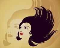 Retrato de Grunge de una belleza con el pelo negro largo Fotos de archivo