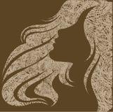 Retrato de Grunge de una muchacha con el pelo hermoso ilustración del vector