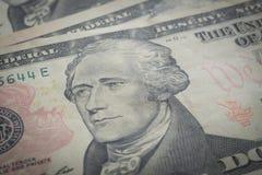 Retrato de Hamilton, dez dólares de conta foto de stock