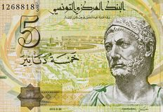Retrato de Hannibal en Túnez 5 dinares 2013 de primer del billete de banco, T Fotografía de archivo