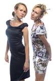 Retrato de hermanas derechas en el fondo blanco Fotos de archivo