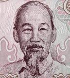 Retrato de Ho Chi Minh en el closeu 2000 del billete de banco de Vietnam Dong 1988 foto de archivo