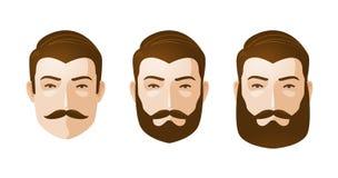 Retrato de hombres hermosos Hombre con la barba y el bigote Ilustración del vector de la historieta Imagen de archivo