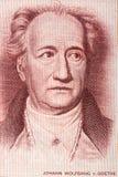Retrato de Johann Wolfgang von Goethe do dinheiro alemão velho Foto de Stock