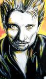 Retrato de Johnny Hallyday dos grafittis Imagens de Stock Royalty Free
