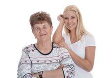 Retrato de la abuela real con su nieta. Fotos de archivo