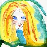 Retrato de la acuarela de la muchacha rubia Imagen de archivo