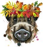 Retrato de la acuarela del jabalí con la guirnalda de hojas libre illustration
