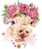 Retrato de la acuarela del mini cerdo libre illustration