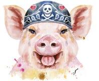 Retrato de la acuarela del pañuelo del motorista del cerdo que lleva stock de ilustración
