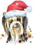 Retrato de la acuarela del perro de la raza de Yorkshire Terrier con el sombrero de Papá Noel Fotos de archivo libres de regalías