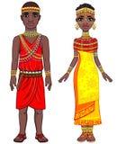 Retrato de la animación de la familia africana en ropa étnica
