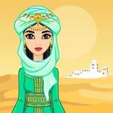 Retrato de la animación de la mujer árabe en ropa antigua