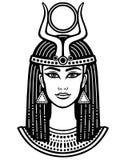Retrato de la animación de la mujer egipcia hermosa stock de ilustración