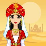 Retrato de la animación de la princesa árabe en ropa antigua