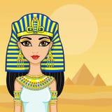 Retrato de la animación de la reina egipcia Un fondo - un paisaje el desierto, pirámides El lugar para el texto