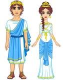Retrato de la animación de una familia en ropa de Grecia antigua ilustración del vector