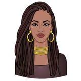 Retrato de la animación de la mujer africana hermosa joven en dreadlocks