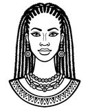 Retrato de la animación de la mujer africana joven Dibujo linear monocromático