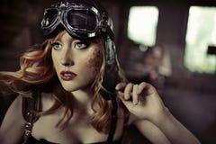 Retrato de la aviadora fabulosa Imagen de archivo libre de regalías
