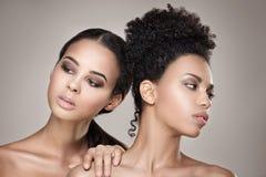 Retrato de la belleza de dos muchachas afroamericanas foto de archivo