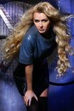 Retrato de la belleza de la moda de la mujer, Girl Hairstyle modelo, pelo rubio imagenes de archivo