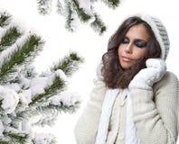 Retrato de la belleza del invierno de la mujer imágenes de archivo libres de regalías
