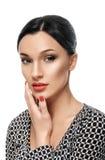 Retrato de la belleza Mujer hermosa que toca su cara Fres perfecto Fotografía de archivo
