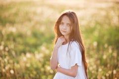 Retrato de la camisa blanca que lleva de la muchacha caucásica joven hermosa en campo de la puesta del sol del verano al aire lib Imagen de archivo