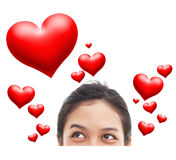 Retrato de la cara divertida y mucho corazón rojo Fotos de archivo