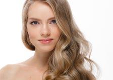 Retrato de la cara de la mujer de la belleza Girl modelo hermoso con el franco perfecto imágenes de archivo libres de regalías