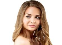 Retrato de la cara de la mujer de la belleza Girl modelo hermoso con el franco perfecto imagen de archivo libre de regalías