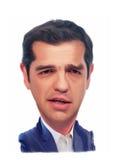 Retrato de la caricatura de Alexis Tsipras Imagen de archivo libre de regalías