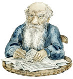 Retrato de la caricatura de Leo Tolstoy Imagenes de archivo