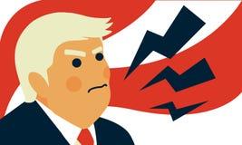 Retrato de la caricatura del ejemplo del vector de presidente Donald Trump