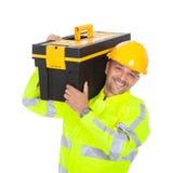 Retrato de la chaqueta de la seguridad del trabajador que desgasta Imagen de archivo libre de regalías