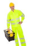Retrato de la chaqueta de la seguridad del trabajador que desgasta Fotografía de archivo libre de regalías