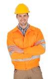 Retrato de la chaqueta de la seguridad del trabajador que desgasta Fotos de archivo libres de regalías