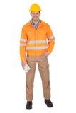 Retrato de la chaqueta de la seguridad del trabajador que desgasta Foto de archivo
