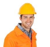 Retrato de la chaqueta de la seguridad del trabajador que desgasta Fotografía de archivo