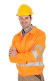 Retrato de la chaqueta de la seguridad del trabajador que desgasta Foto de archivo libre de regalías