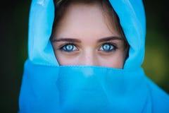 Retrato de la chica joven atractiva en sari Foto de archivo libre de regalías