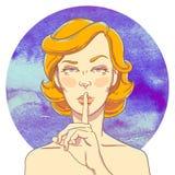 Retrato de la chica joven con el finger a su boca Fotografía de archivo