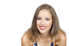 Retrato de la chica joven hermosa con la piel limpia en cara bonita Fotos de archivo