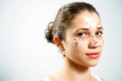 Retrato de la cirugía cosmética Imágenes de archivo libres de regalías