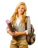 Retrato de la colegiala adolescente sonriente feliz Imágenes de archivo libres de regalías