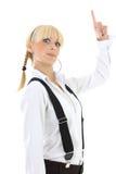 Retrato de la colegiala con el dedo para arriba Fotografía de archivo libre de regalías