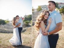 Retrato de la Collage-boda de la novia y del novio al aire libre en verano Foto de archivo
