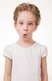 Retrato de la cubierta emocionada sorprendida de la muchacha su boca por la mano Aislado en el fondo blanco Fotos de archivo libres de regalías